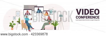 Businesspeople Chatting With Mix Race Colleagues During Video Call Business People Having Online Con
