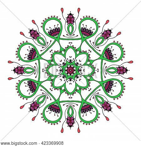 Mandala. Ethnic Lace Round Ornamental Pattern. Beautiful Hand Drawn Flower. Can Be Used To Fabric De