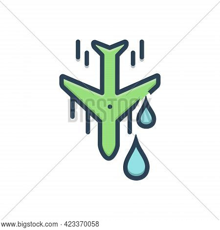 Color Illustration Icon For Downstream Aeroplane Land Down