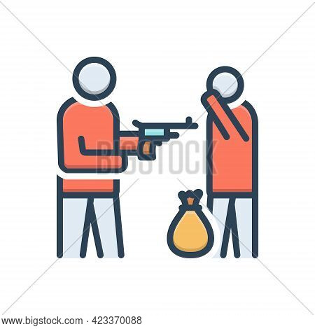 Color Illustration Icon For Duress Person Gun Robber Outlaw Extortionist Gangster