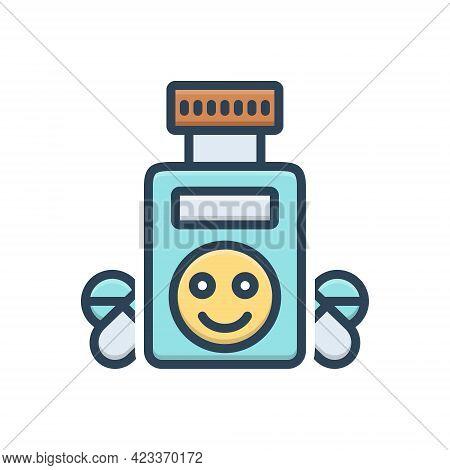 Color Illustration Icon For Ecstasy Bliss Jubilance Bottle Medicine Drug Medicament
