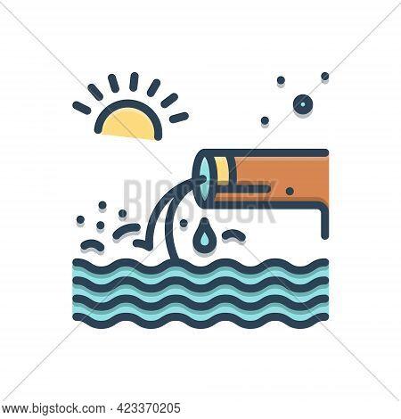 Color Illustration Icon For Effluent Flow Stream Flow Sewage Canalization Sanitation Sewerage
