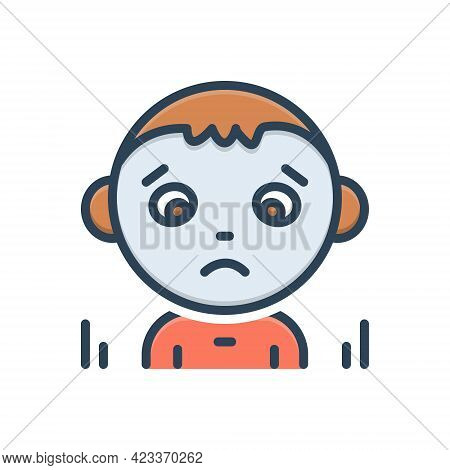 Color Illustration Icon For Discourage Dishearten Deject Sad