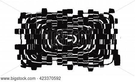 Grunge Glitch Design Element, Black And White Vector Illustration.