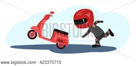 Scooter Driver. Biker Cartoon. Child Illustration. Chasing. In A Sports Uniform And A Red Helmet. Co