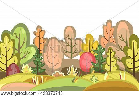 Flat Autumn Forest. Landscape With Trees. Red. Illustration In A Simple Symbolic Style. A Funny Scen