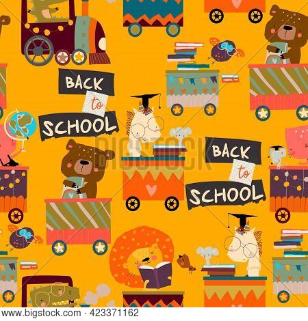 Seamless Pattern With Cartoon Animals Riding To The School By Train