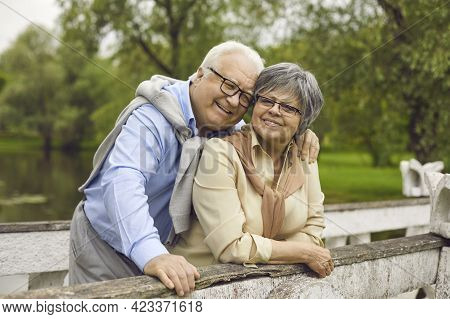 Happy Smiling Senior Married Family Couple Embracing With Tenderness Outdoor