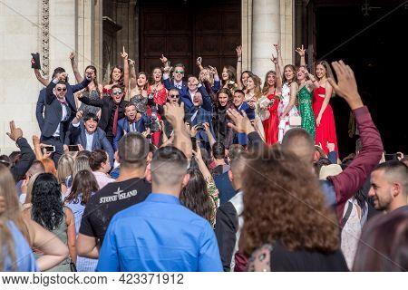 Sofia, Bulgaria - May 24, 2021: High School Graduates Celebrate Their Graduation In Sofia Downtown.