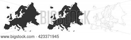 Europe Maps Set With Country Borders Isolated On White. Grey Coloured Maps Set