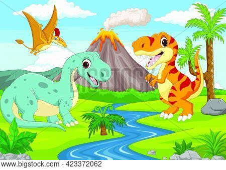 Vector Illustration Of Group Of Funny Cartoon Dinosaurs In The Jungle
