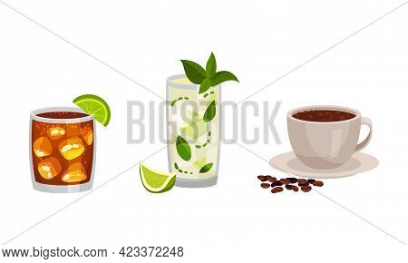 Cuba Symbols With Refreshing Mojito Cocktail In Glass And Hot Coffee In Cup Vector Set