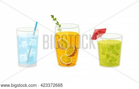 Fresh Refreshing Summer Cocktails With Ice Cubes And Sliced Fruits And Berries In Glass With Straw V
