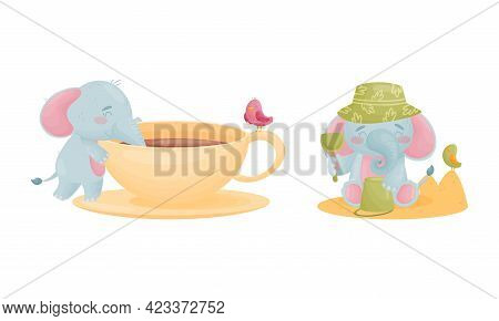 Cute Blue Elephant Character Playing In Sand And Drinking From Huge Cup Vector Set