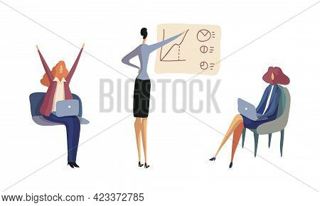 Businesswoman In Formal Suit At Work Place Showing Presentation And Working With Laptop Vector Set