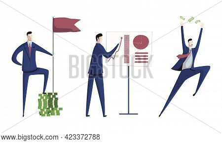 Business Executive Man Worker In Formal Suit And Tie At Work Place Showing Presentation And Achievin