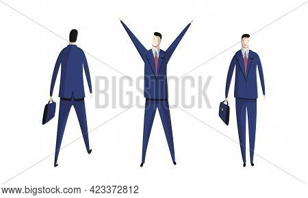 Business Executive Man Worker In Formal Suit And Tie At Work Place Achieving Goals Vector Set