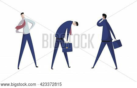 Business Executive Man Worker In Formal Suit And Tie At Work Place Engaged In Different Activity Vec