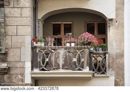 Cozy Old Balcony In Gdansk, Poland. European Architecture Details.