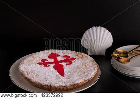 Tarta De Santiago (st. James Cake) Famous Spanish Almond Cake Typically Made In Galicia.