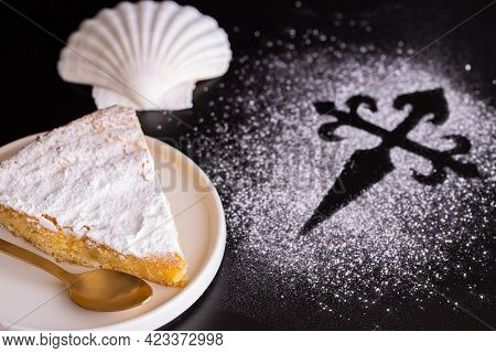 Tarta De Santiago (st. James Cake) Famous Spanish Almond Cake Typically Made In Galicia And A Silhou