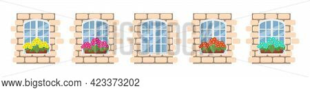 White Window With Flowers On The Windowsill, Fragment Of A Brick Wall With A Window Set, Vector Obje