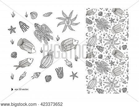 Sea Creatures + Seamless Texture + Pattern. Abstract Composition For Your Design - Banners, Posters,