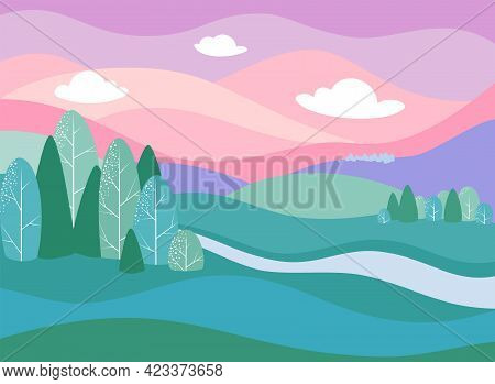 Fantasy Vector Drawing - Fabulous Beautiful Landscape With River, Mountains And Forest. Eps 10 Vecto
