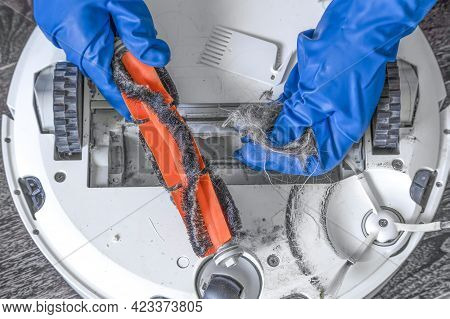 A Hand In A Blue Glove Holds A Clump Of Hair And Pet Hair Removed From The Brush Of A Robot Vacuum C