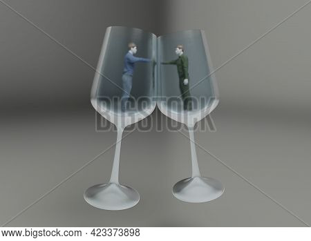 Two Human Personal Boundaries, 3d Illustration Concept
