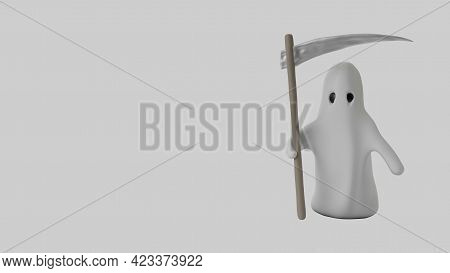 Cute Cartoon Grim Reaper. Isolated On White 3d Render