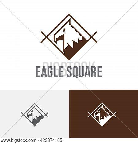 Eagle Hawk Falcon Bird In Square Animal Vintage Logo