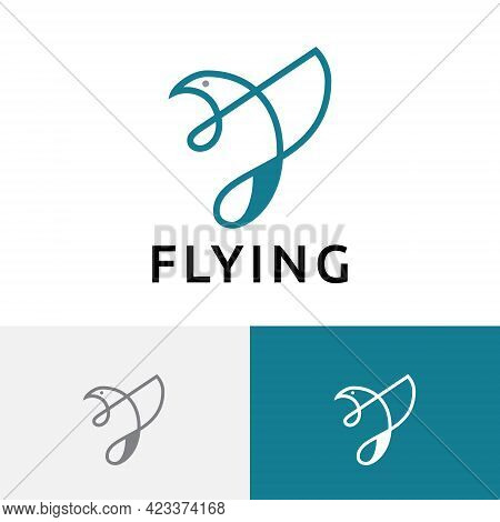 Flying Little Bird Wing Dove Pigeon Hummingbird Colibri Line Logo