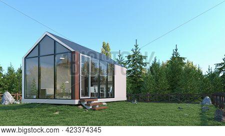 Exterior Of Modern Living House. 3d Illustration