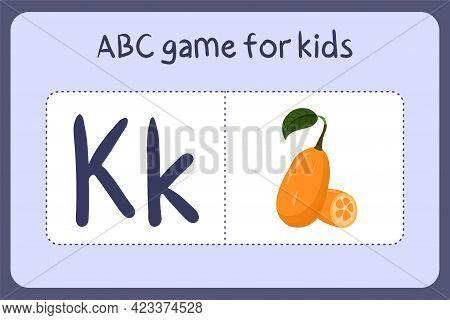 Kid Alphabet Mini Games In Cartoon Style With Letter K - Kumquat . Vector Illustration For Game Desi