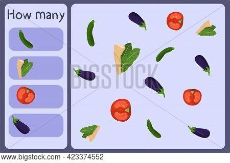 Kids Mathematical Mini Game - Count How Many Vegetables - Zucchini, Horseradish, Tomato, Eggplant. E