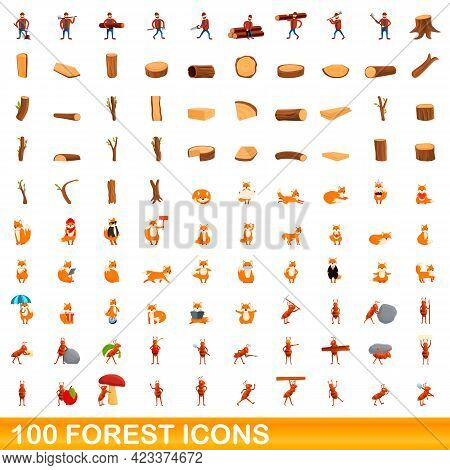 100 Forest Icons Set. Cartoon Illustration Of 100 Forest Icons Vector Set Isolated On White Backgrou