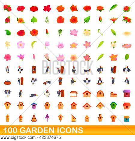 100 Garden Icons Set. Cartoon Illustration Of 100 Garden Icons Vector Set Isolated On White Backgrou