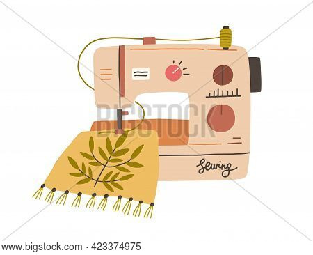 Modern Embroidery Machine With Thread Spool Embroidering On Canvas. Process Of Needlework Creation O