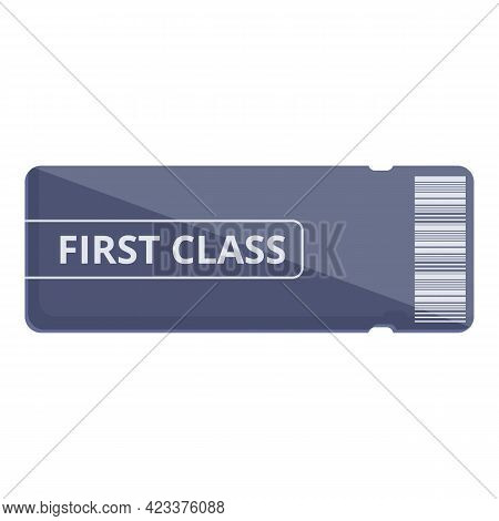 First Class Ai Ticket Icon. Cartoon Of First Class Ai Ticket Vector Icon For Web Design Isolated On