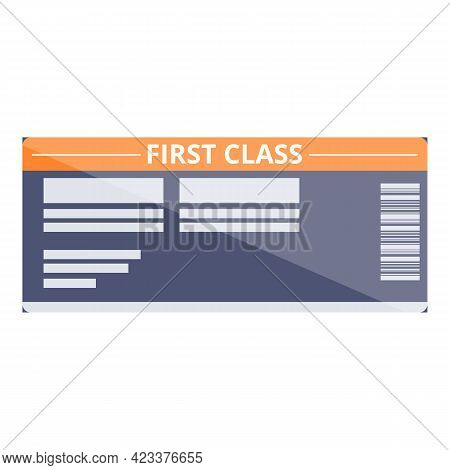 First Class Air Ticket Icon. Cartoon Of First Class Air Ticket Vector Icon For Web Design Isolated O