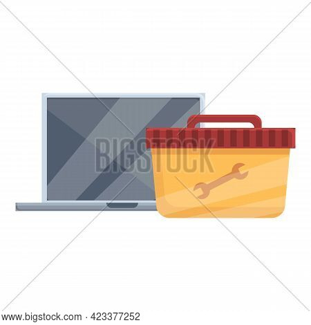 Toolbox Laptop Repair Icon. Cartoon Of Toolbox Laptop Repair Vector Icon For Web Design Isolated On