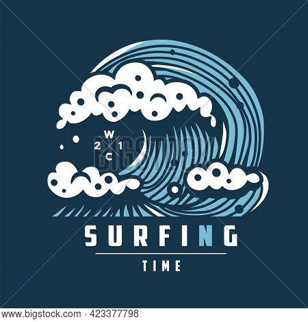 Hawaii Surfing Wave With Foam. Marine Ocean Tide