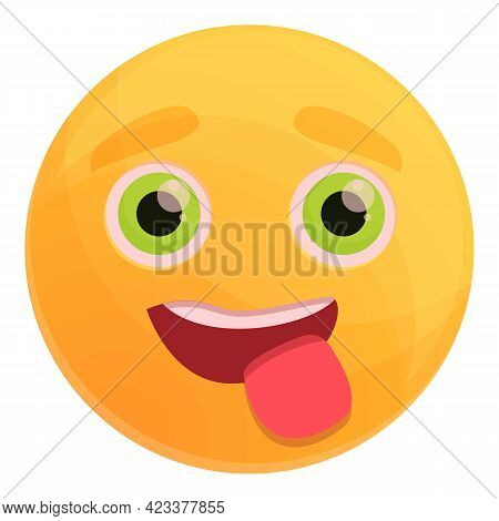 Playful Emoticon Icon. Cartoon Of Playful Emoticon Vector Icon For Web Design Isolated On White Back
