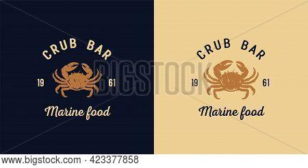 Crab Bar. Marine Ocean Delicacy Seafood Logo
