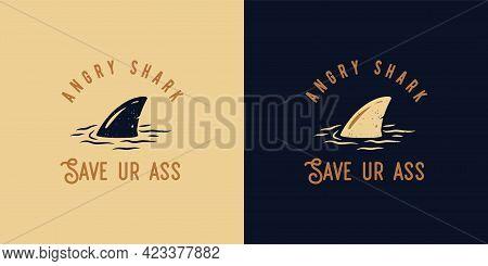 Surfing Summer Print Of Shark Fin On Waves