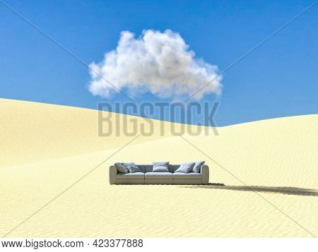 Surreal desert landscape with sofa and cloud on blue sky, dream concept. 3D illustration, rendering.