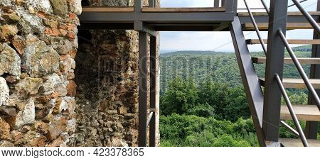 Ruins Of An Old Fortress In Vrdnik, Sremska Mitrovica, Vojvodina, Serbia. Ancient Stone Walls, Mount