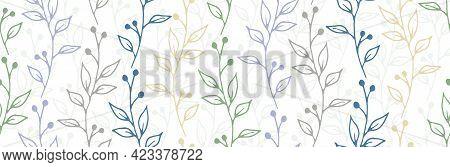 Berry Bush Twigs Organic Vector Seamless Ornament. Gentle Herbal Textile Print. Garden Plants Leaves