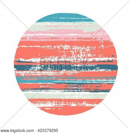 Rough Circle Vector Geometric Shape With Stripes Texture Of Ink Horizontal Lines. Planet Concept Wit